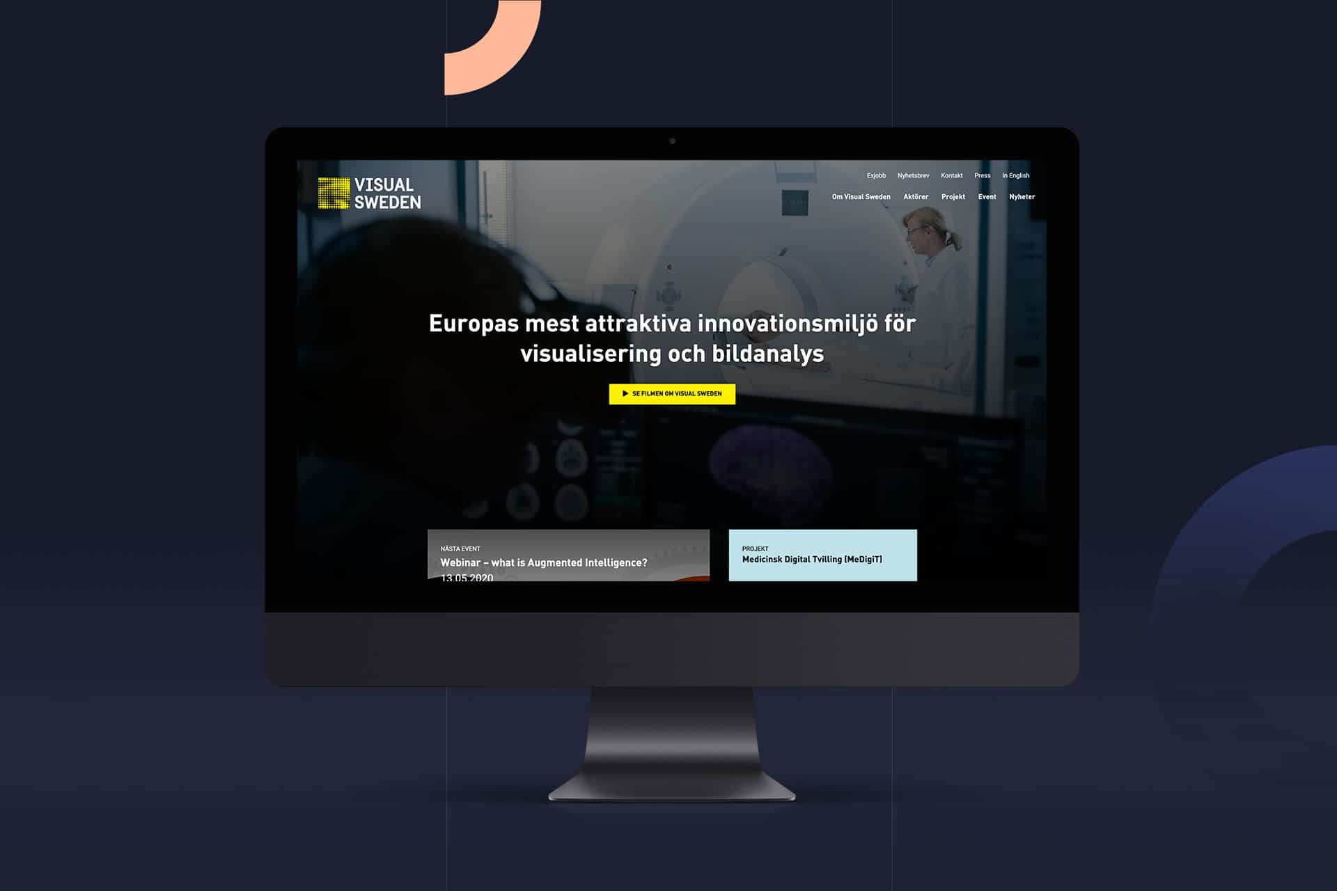 Bildskärm som visar Visual Swedens hemsida