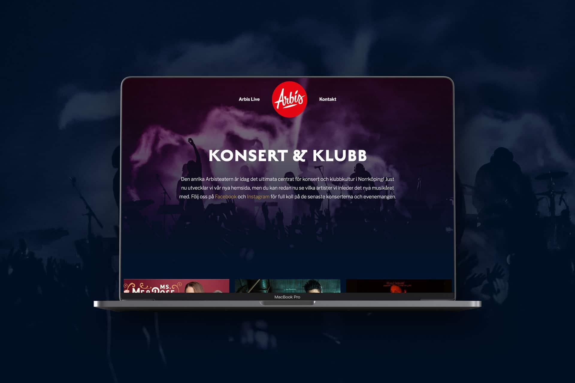 Ny hemsida till Arbis klubb och konsert i Norrköping