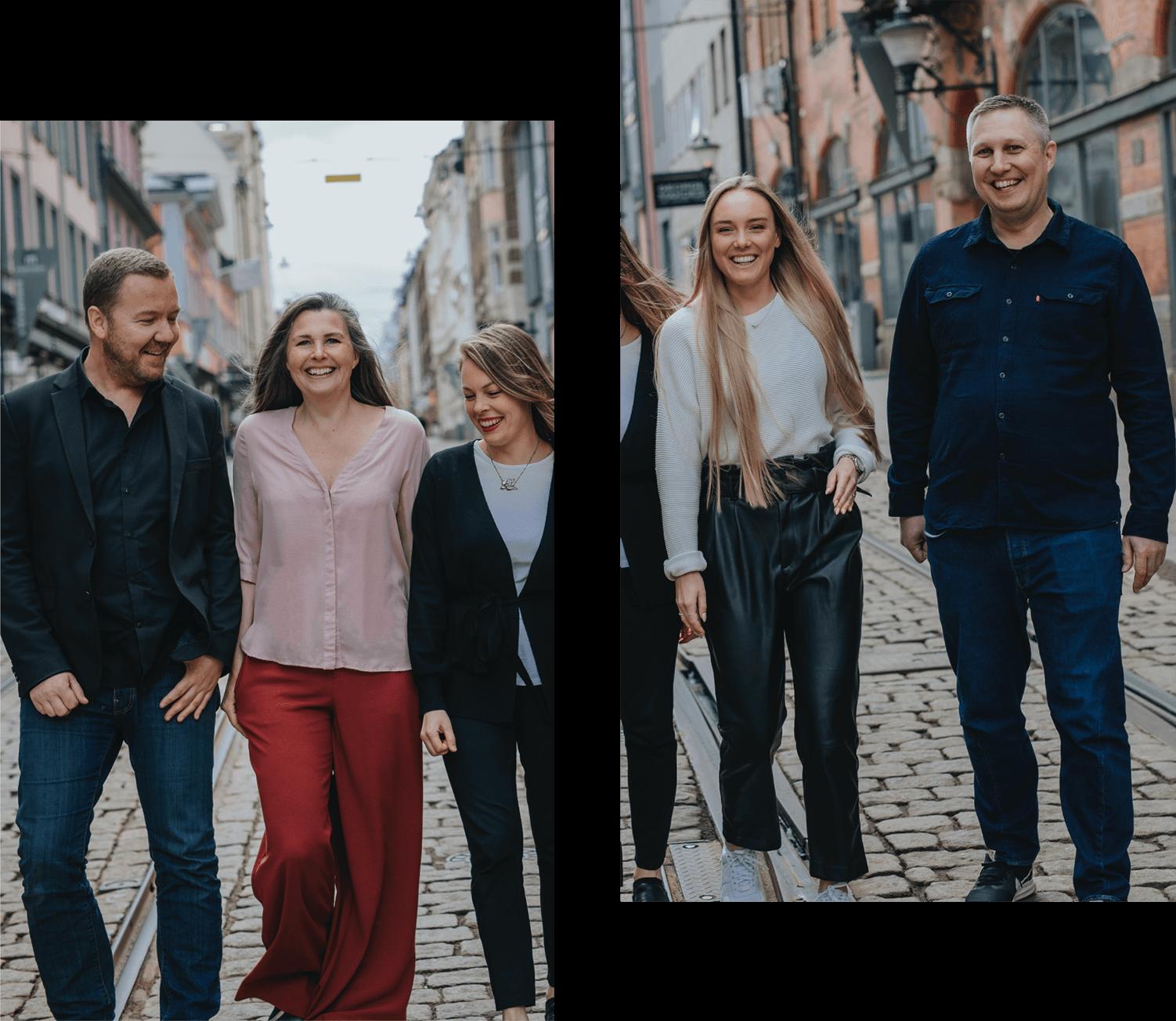 Medarbetarna på Bishop Media promenerar längst Drottninggatan i Norrköping