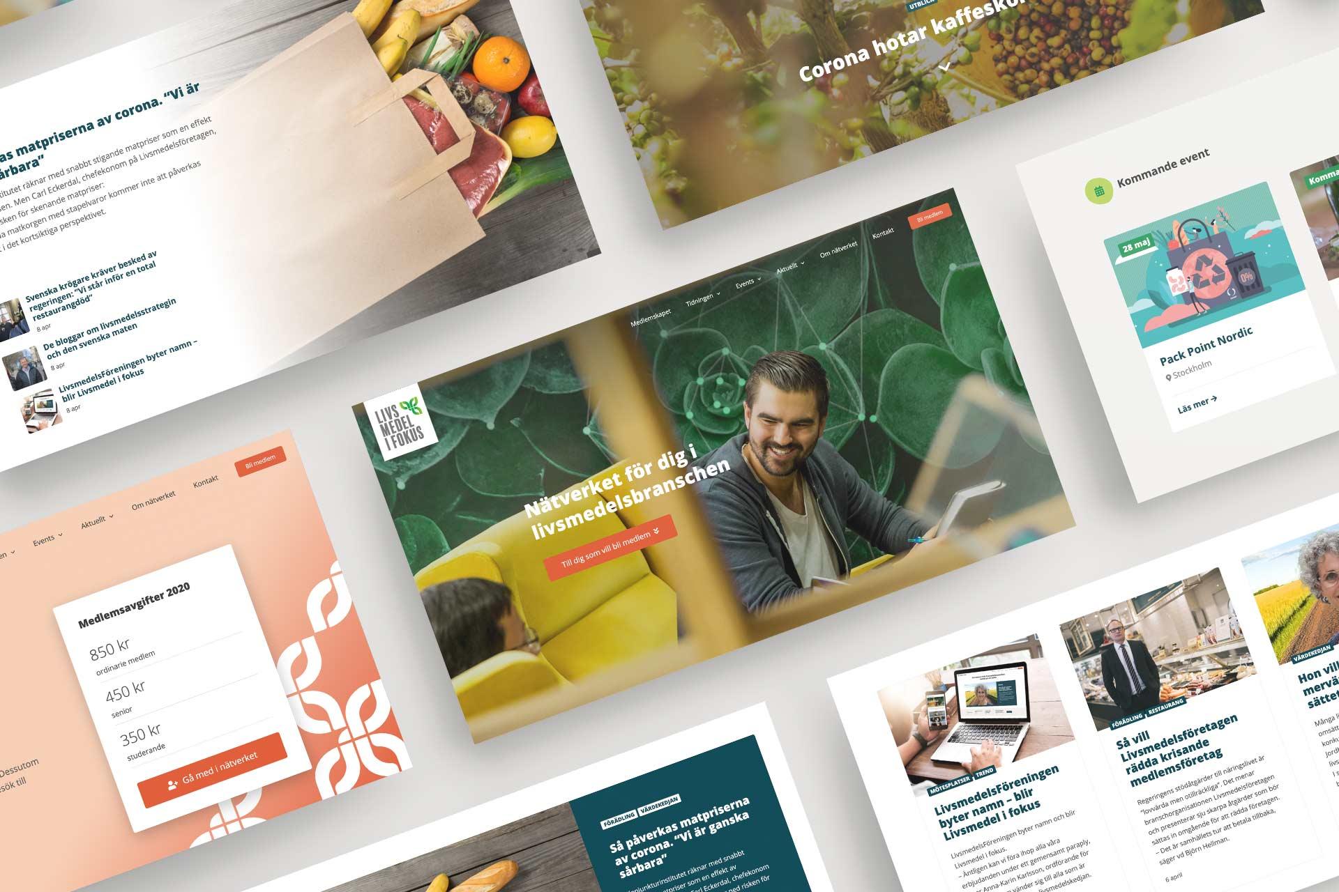 Mockup av Livsmedel i fokus nya hemsida