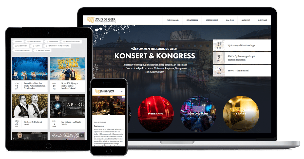 Louis de Geer konsert & kongresss hemsida i olika enheter
