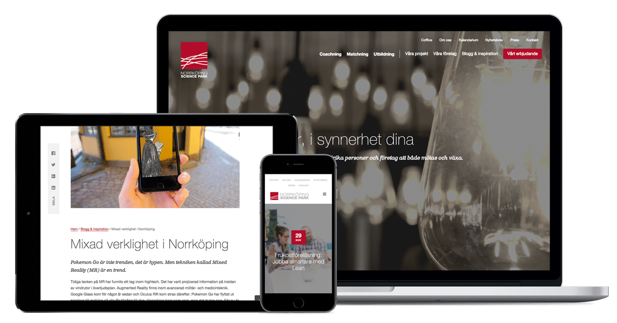 Norrköping Science Parks hemsida i olika enheter