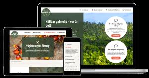 Skärmar som visar hållbarpalmolja.se