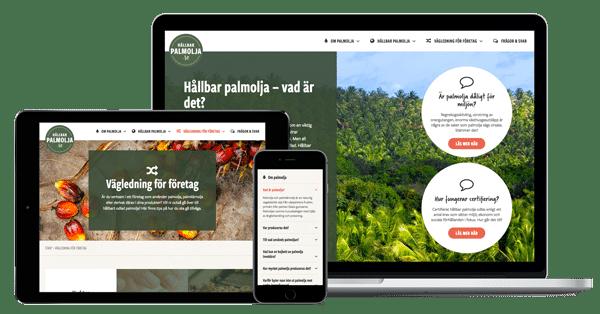 hållbarpalmolja.ses hemsida i olika enheter