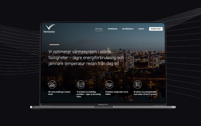 Bild på Värmeanalys nya hemsida i en laptop