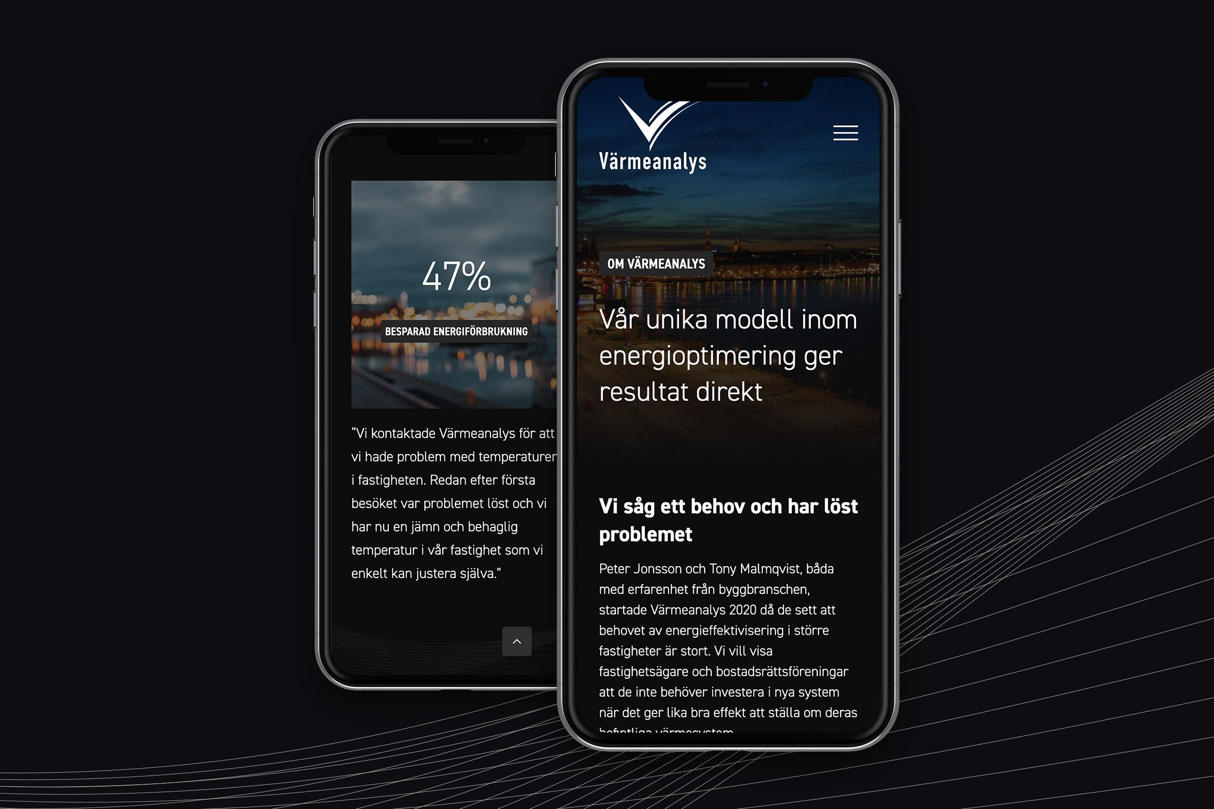 Bild på Värmeanalys nya hemsida i mobil